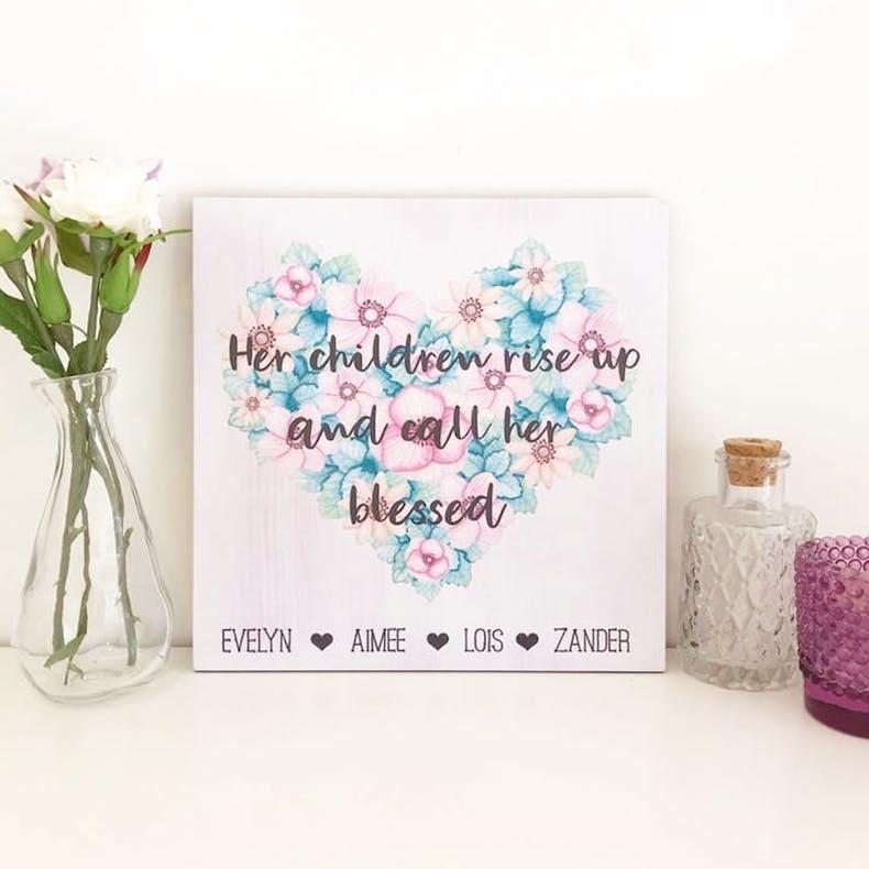 12  Personalised Her Children Rise Up Purple Heart Handmade