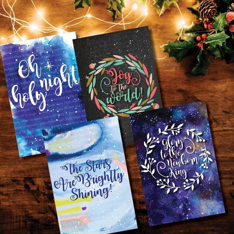 Watercoloured Christian Christmas Cards by Nova Grace at Cheerfully Given