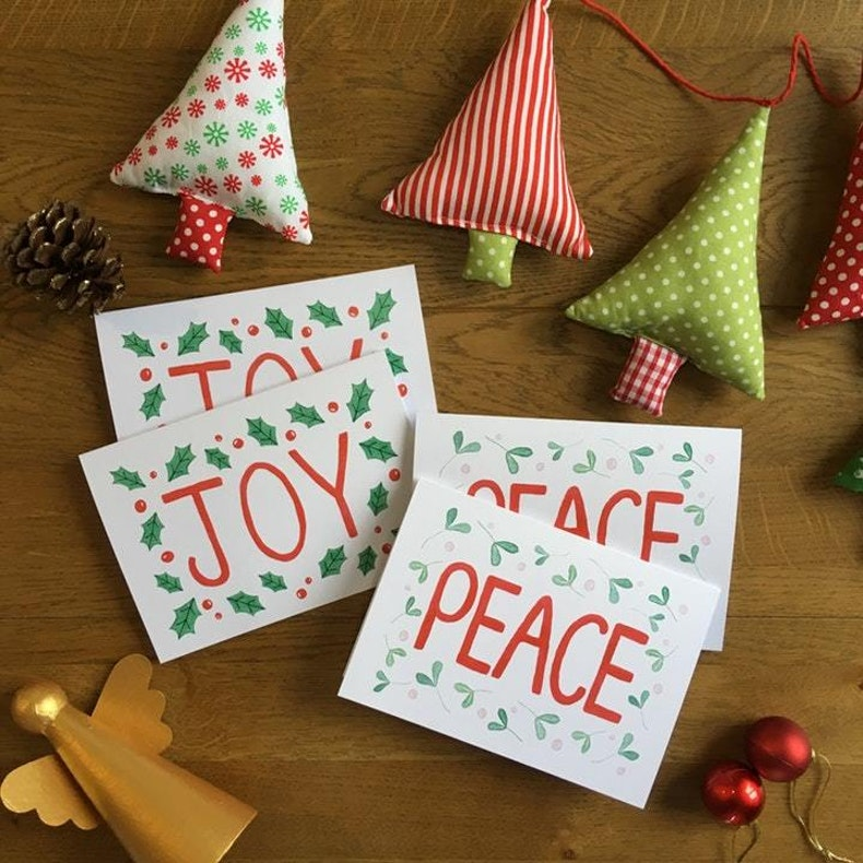 Joy and Peace Traditional Christmas Cards by Treasured Creativity at Cheerfully Given