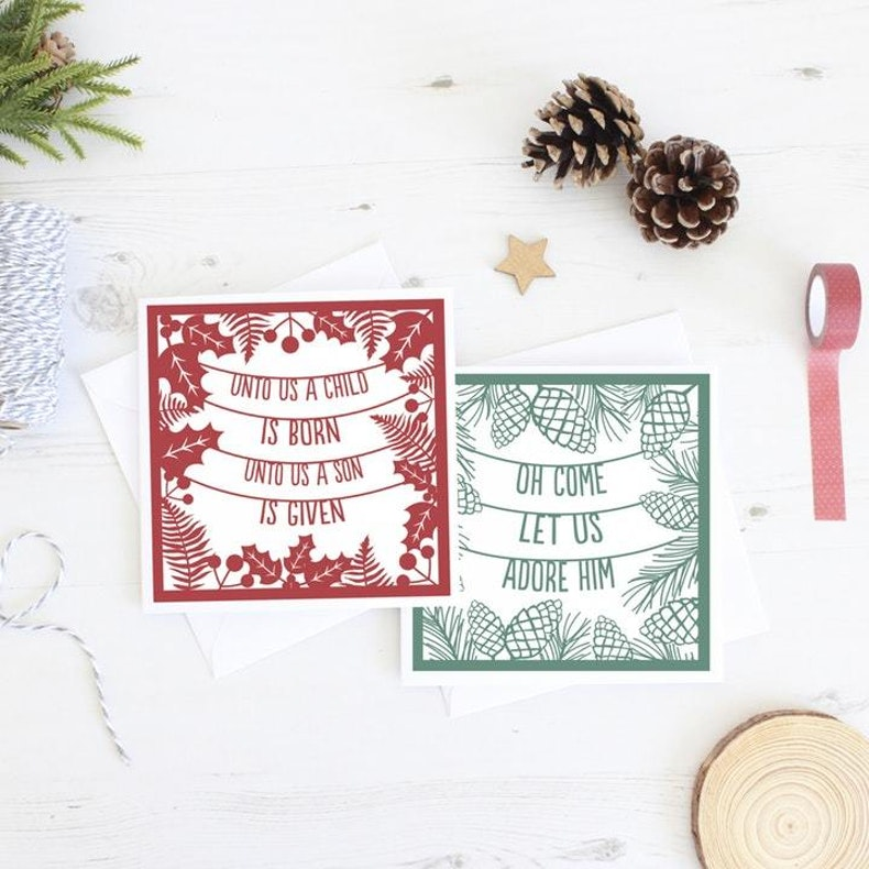 Papercut out in Red and Green Christian Christmas Cards by Kiwi Tree Designs at Cheerfully Given