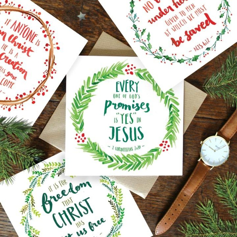 Green and Red Wreath Bible Verse Christmas Cards by Roleymole Designs at Cheerfully Given