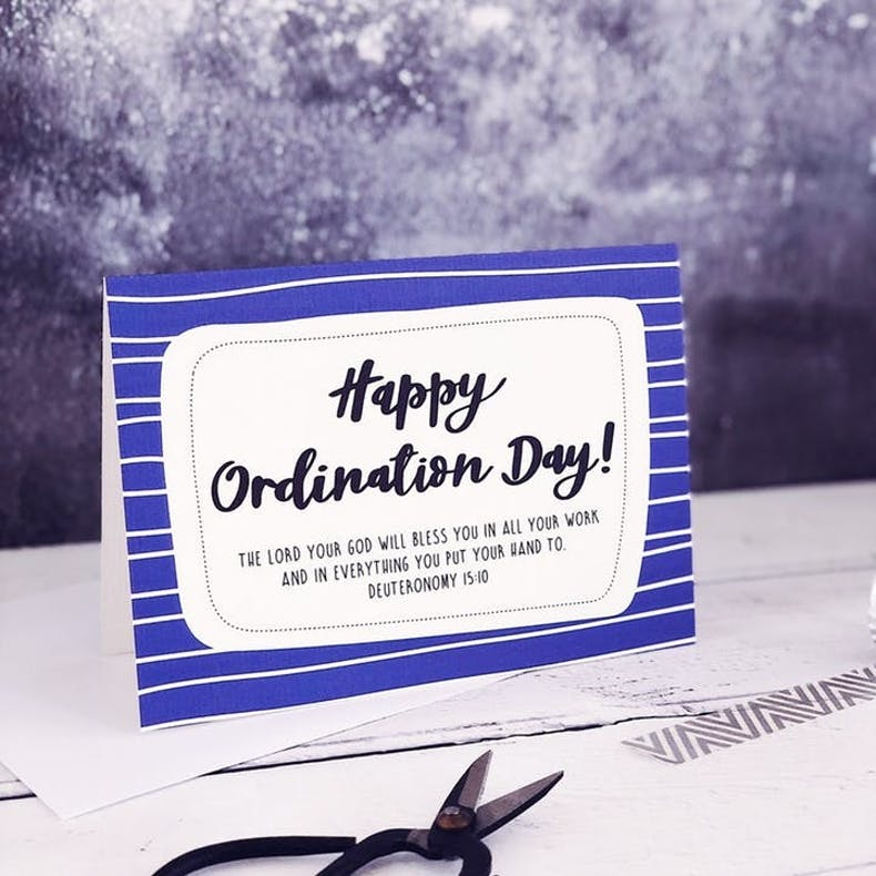 A6 Happy Ordination Day Card by Izzy and Pop at Cheerfully Given featuring Deuteronomy 15:10