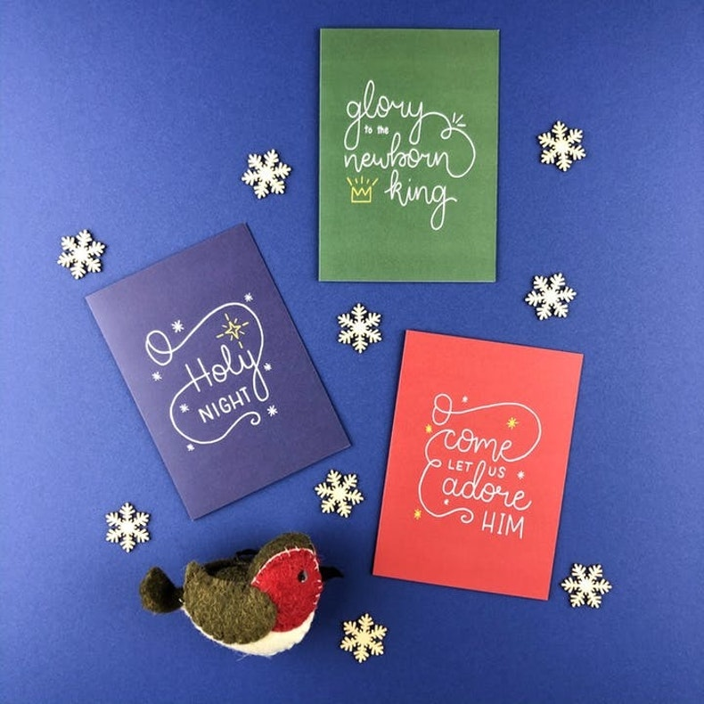 Create Friday simple Christian Christmas cards on Navy Background | Cheerfully Given