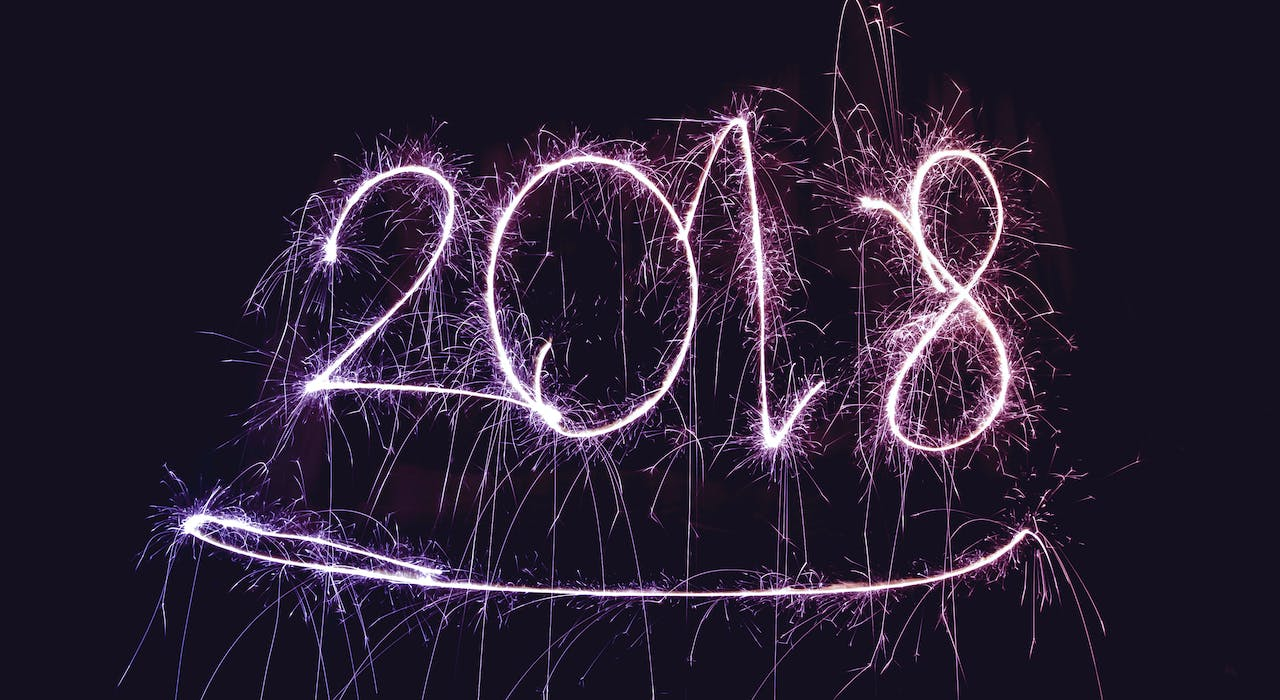2018 in Sparklers against night sky   Blog Header   Cheerfully Given New Year