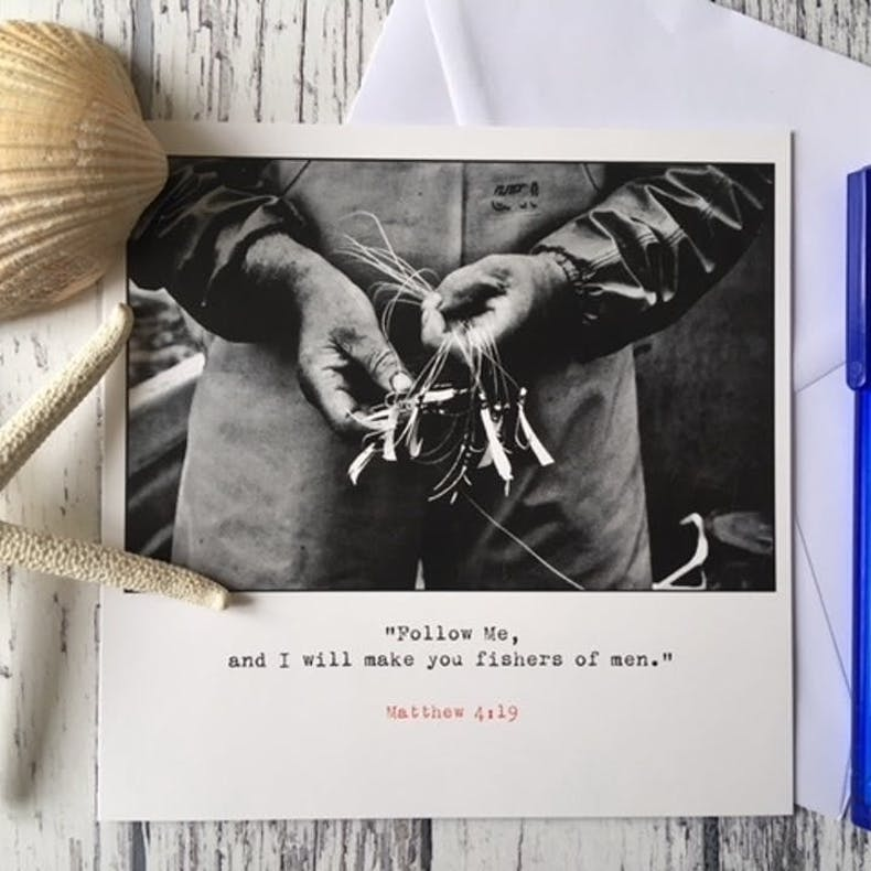 Follow Me Fishers B&W ordination card by Fieldnote at Cheerfully Given