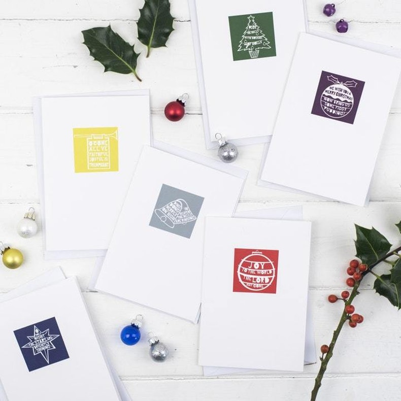 Carol Cut Out Style Christian Christmas Cards UK