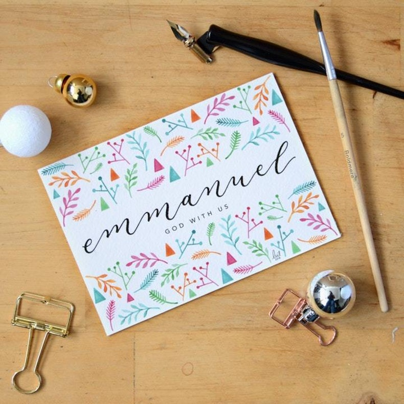 Chassy Calligraphy Emmanuel Christian Christmas Cards UK | Cheerfully Given