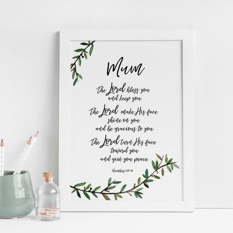 7  Mum The Lord Bless You Numbers 6 Christian Print