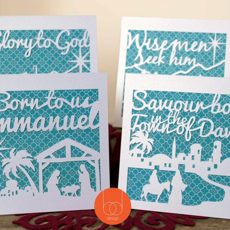 Birch and Tides Cutout White Card Christian Christmas Cards on teal card background | Cheerfully Given