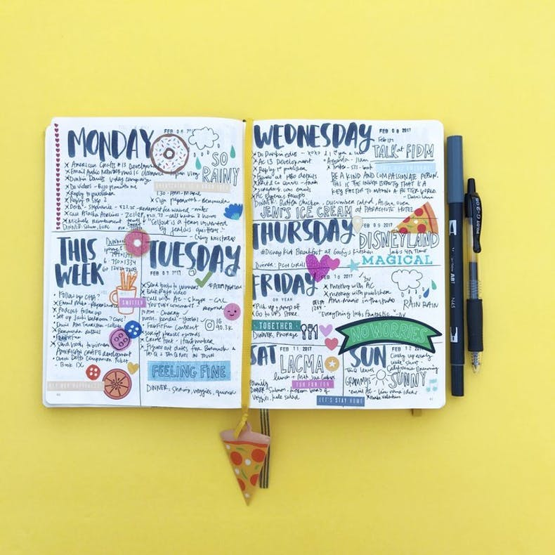 Amy Tangerine Colourful Bullet Journal Layout