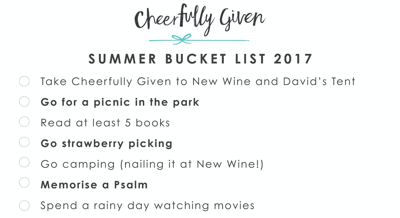 Summer Bucket List by Cheerfully Given