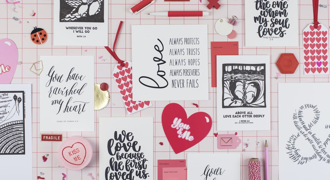 Flat lay of Cheerfully Given Christian Valentine's Day Cards UK