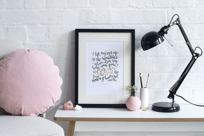 Desk with I lift my eyes to the hill calligraphy Scripture print at Cheerfully Given