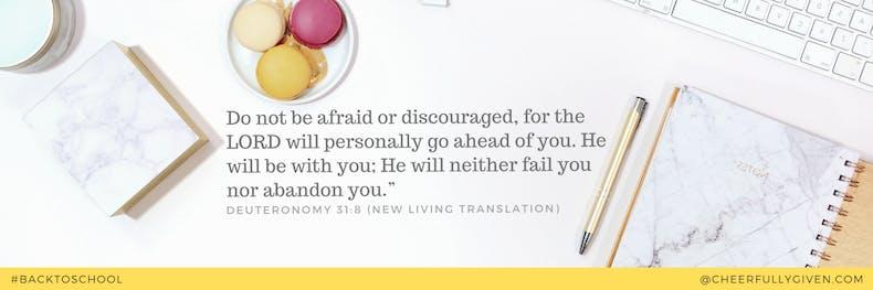 Do not be afraid or discouraged Bible verse art