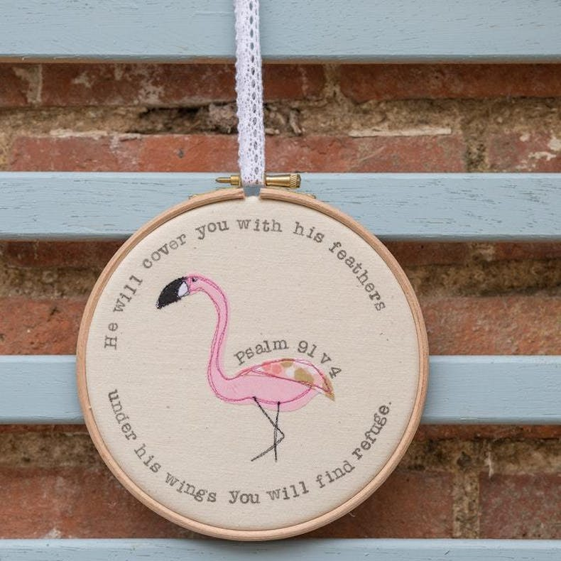 Embroidery Hoop Art Galentine's Day Gift Psalm 91:4
