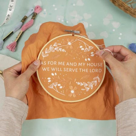 Orange Embroidery Hoop Art As for Me and my house by Embroidery by Faith at Cheerfully Given