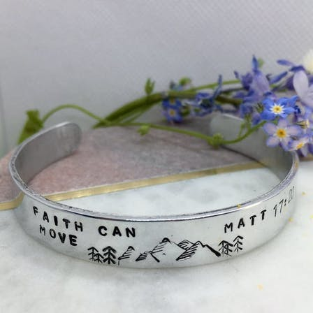 Faith can move mountains aluminium stamped cuff bracelet by Bloom Jewellery at Cheerfully Given