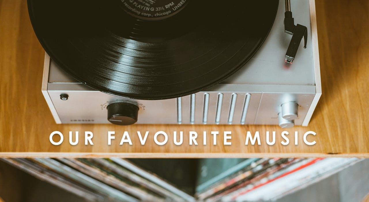 Favourite Christian Music Blog Banner with record player | Cheerfully Given