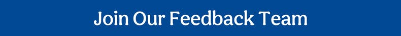 Join our Feedback Team Blue banner cheerfully Given