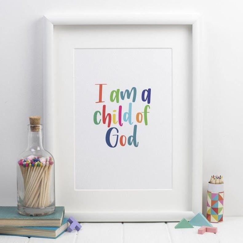 I am a child of God A4 Bible verse print