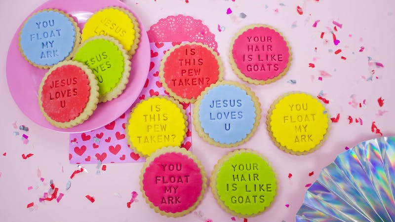 Christian Valentine's Day Ideas with compliment colourful biscuits | Cheerfully Given