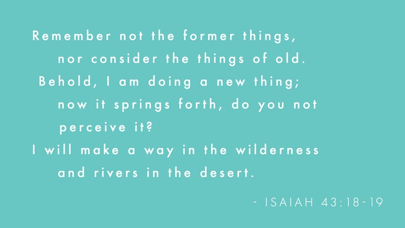 Isaiah 43:18-19 Bible Verses on Teal Background