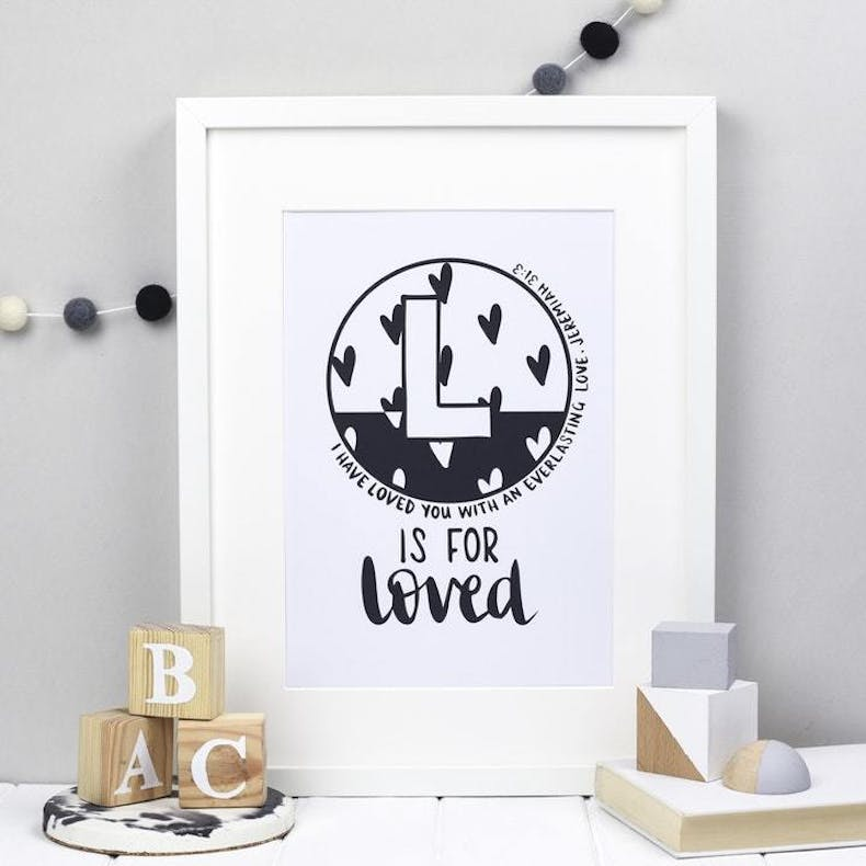 L is for loved Jeremiah 31 v3 Hope and ginger Bible Verse Art Black and White