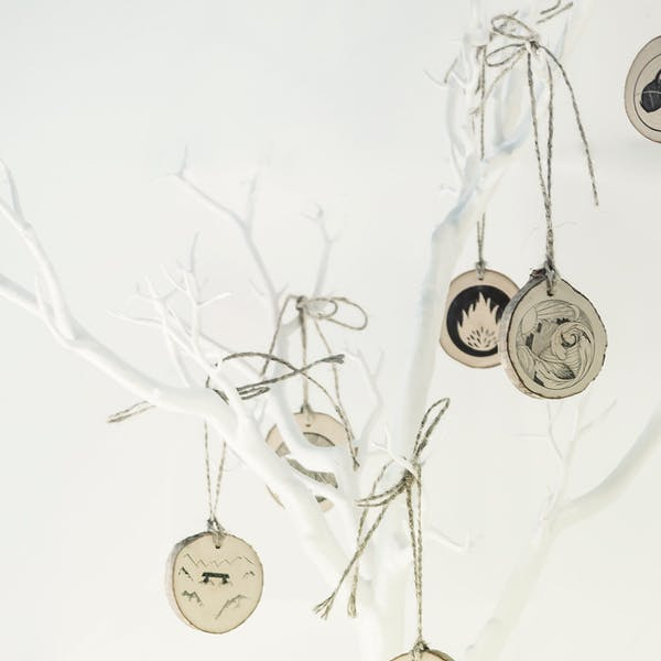White branches with wooden discs hanging from it as part of the Jesse Tree Advent Calendar by Gospel Centred Parenting at Cheerfully Given