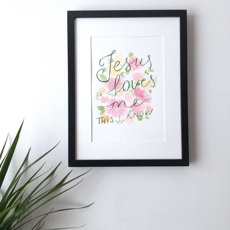 Jesus Loves Me Watercolour Painting