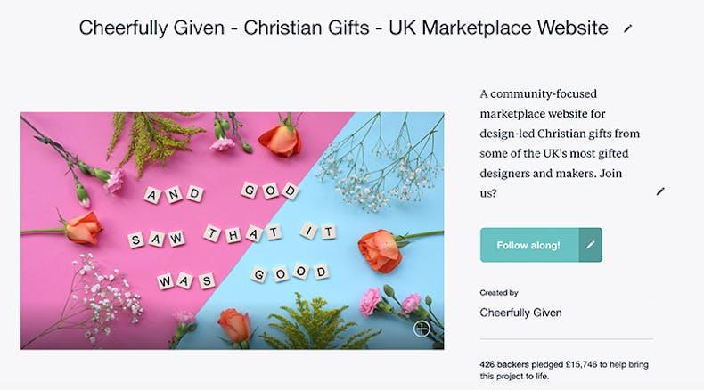 Screenshot of Cheerfully Given Kickstarter Page