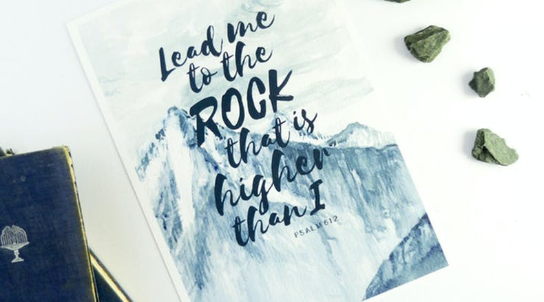 Lead me to the Rock Bible Verse Prints by Judy B Designs at Cheerfully Given