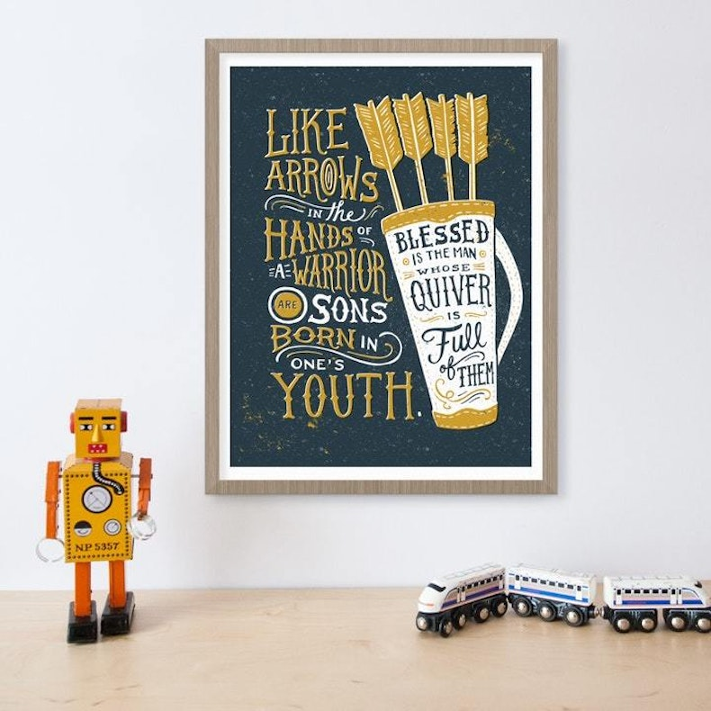 Like Arrows Psalm 127:4 Scripture Print | Laurent Collective | Cheerfully Given - Christian Prints UK