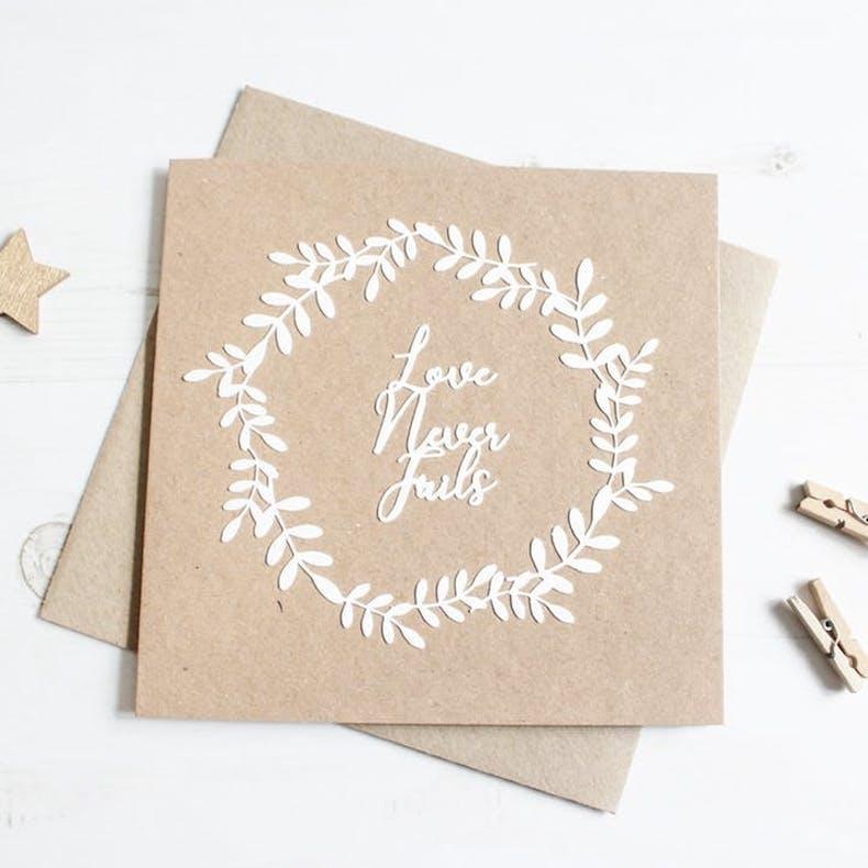 Love never fails Christian valentine's day card kiwi tree designs