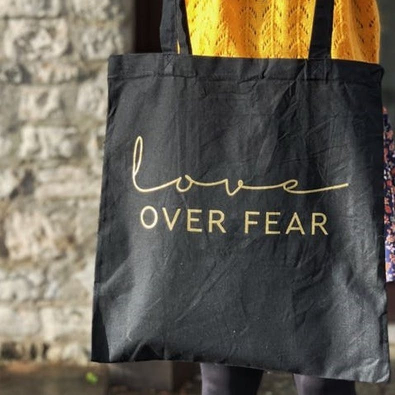 Love Over Fear Black Christian Tote Bag Hullo Creative
