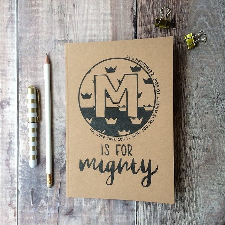 M Is For Mighty Notebook Hope and Ginger notebook at Cheerfully Given