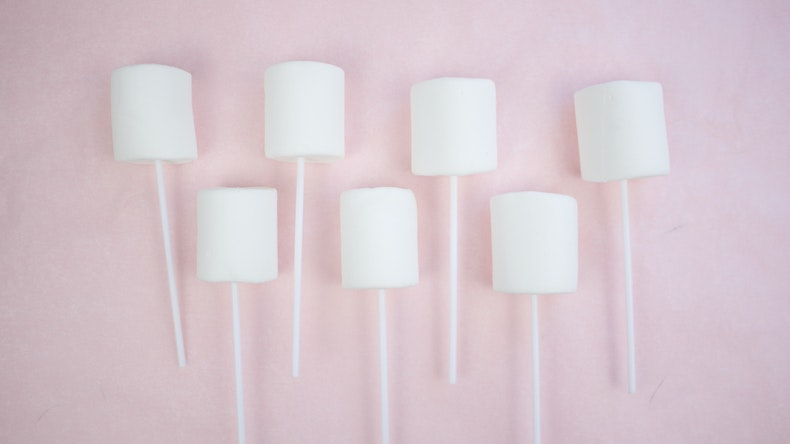 White marshmallows on Cake Pop Sticks at Cheerfully Given