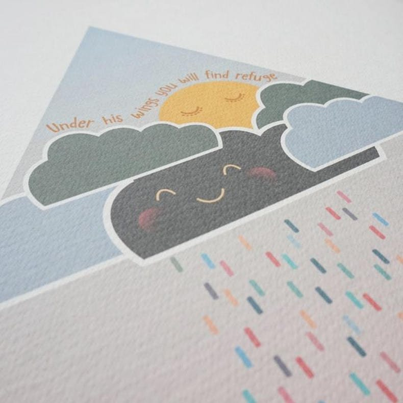 Colourful rain from grey clouds Meadow Rain Christian Wall Decals by Wonderfully Made @ Cheerfully Given