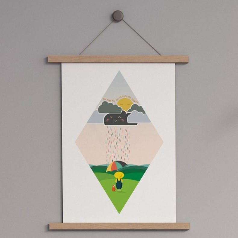 Meadow Rain Scripture print featuring colourful rain landing on child with umbrella | Wonderfully Made @ Cheerfully Given