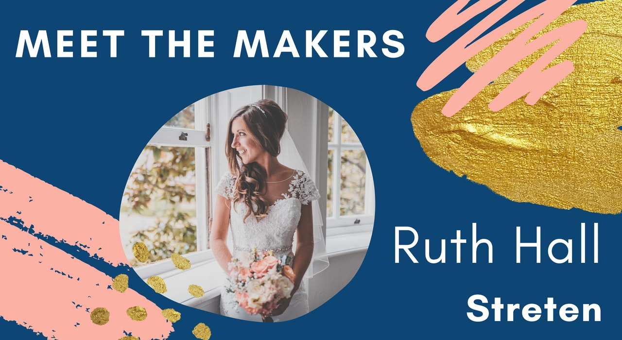 Blog header for Meet the Makers in navy with photo of Ruth Hall of Streten | Cheerfully Given