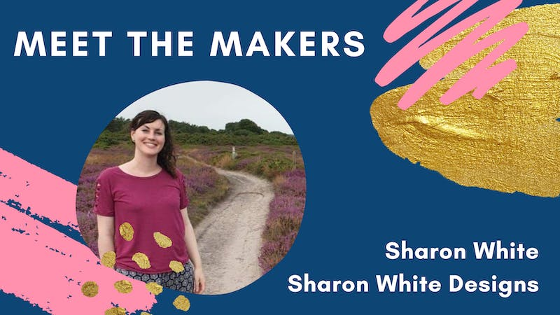 Meet the Makers header with photo of Sharon White and pink and gold designs on navy Sharon White of Sharon White Designs