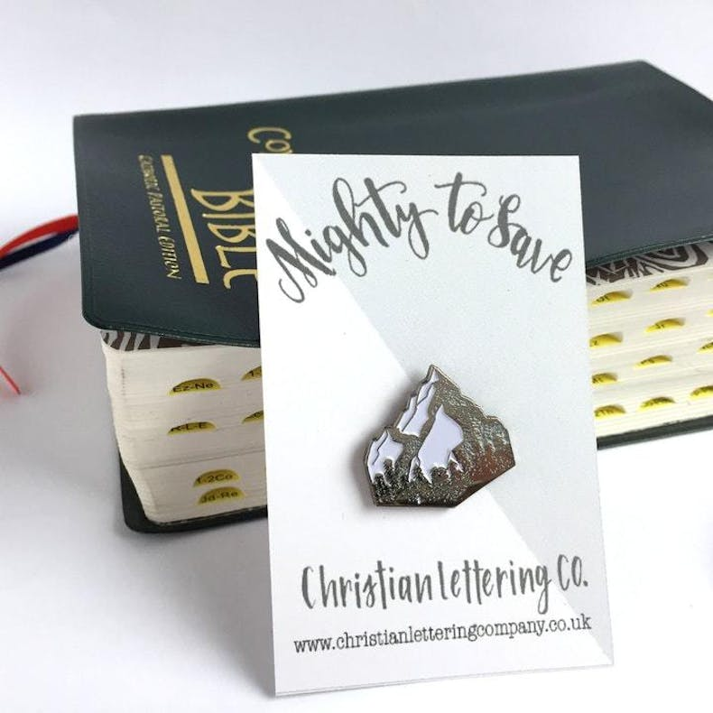 Mighty To Save Pin Christian Lettering Company at Cheerfully Given