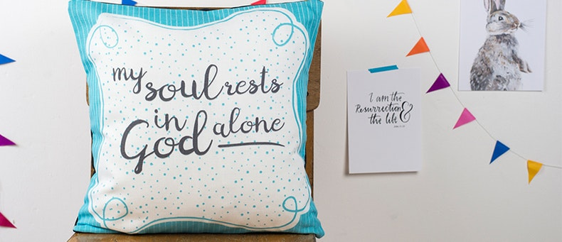 My Soul Christian Cushion by Judy B Design at Cheerfully Given
