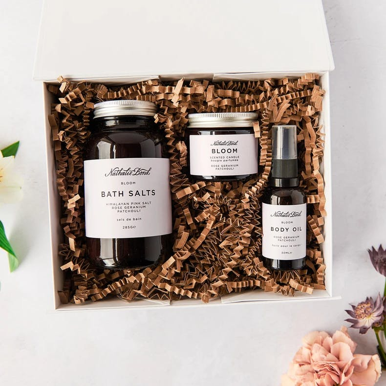 Nathalie Bond Home Spa Kit in a box featuring three products