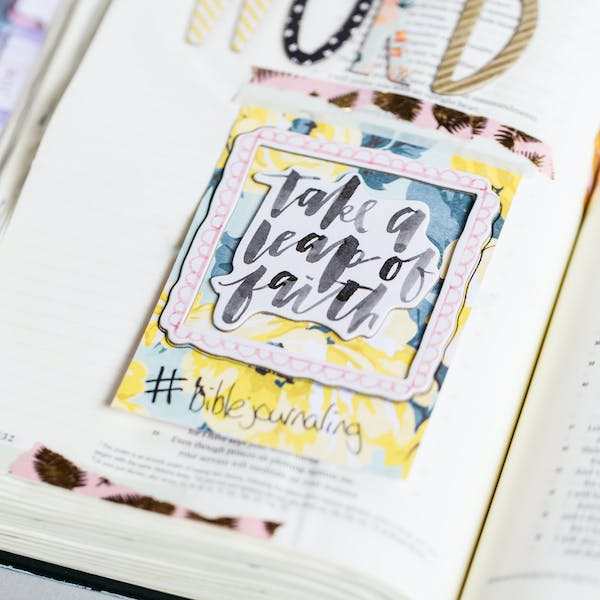 Take a leap of faith page of Bible Journaling UK from Cheerfully Given