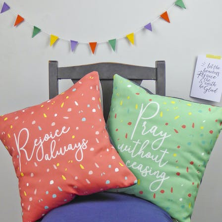 Rejoice And Pray Christian Cushions | Judy B Designs | Cheerfully Given
