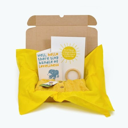 Sunshine Yellow newborn baby gift box with card, yellow cardigan, sunshine print and wooden teething ring by Frog and Gnome @ Cheerfully Given