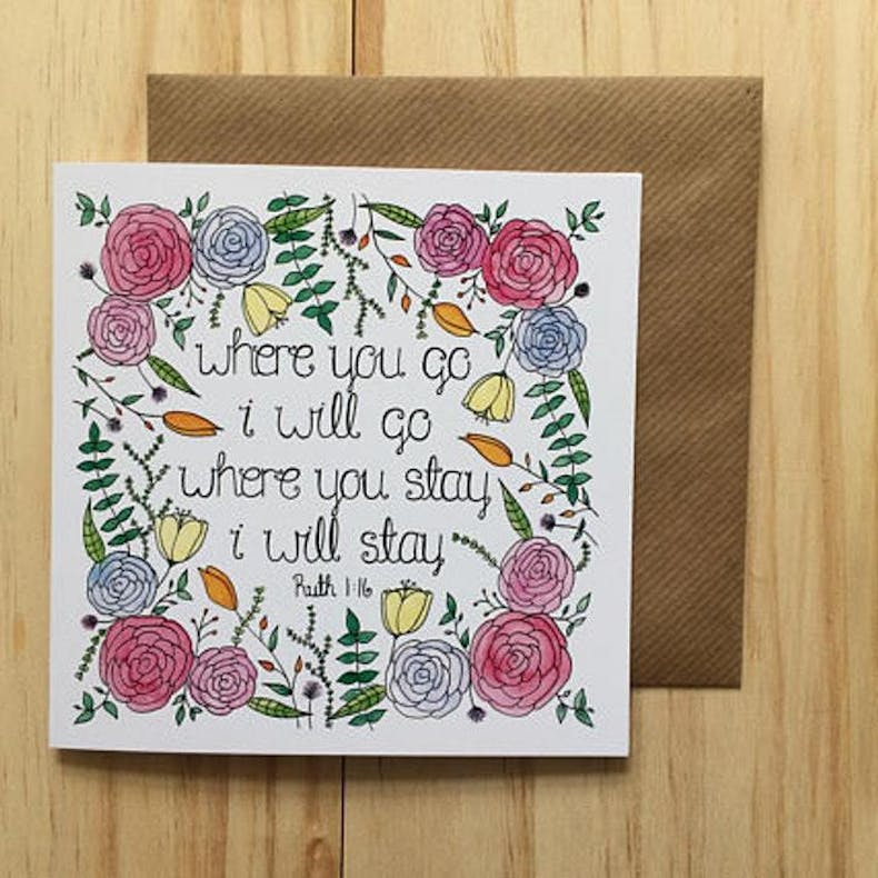 Floral Where you go Christian Valentine's Day card by Treasured Creativity | Cheerfully Given