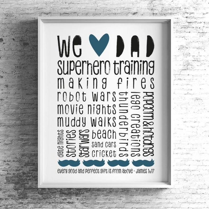 We Heart Dad Print By Bow And Arrow Uk at Cheerfully Given