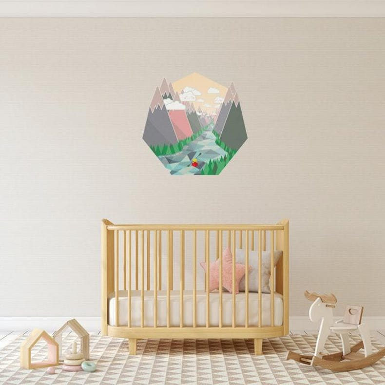 Childrens cot with where the river winds Christian wall decal above it | Wonderfully Made @ Cheerfully Given