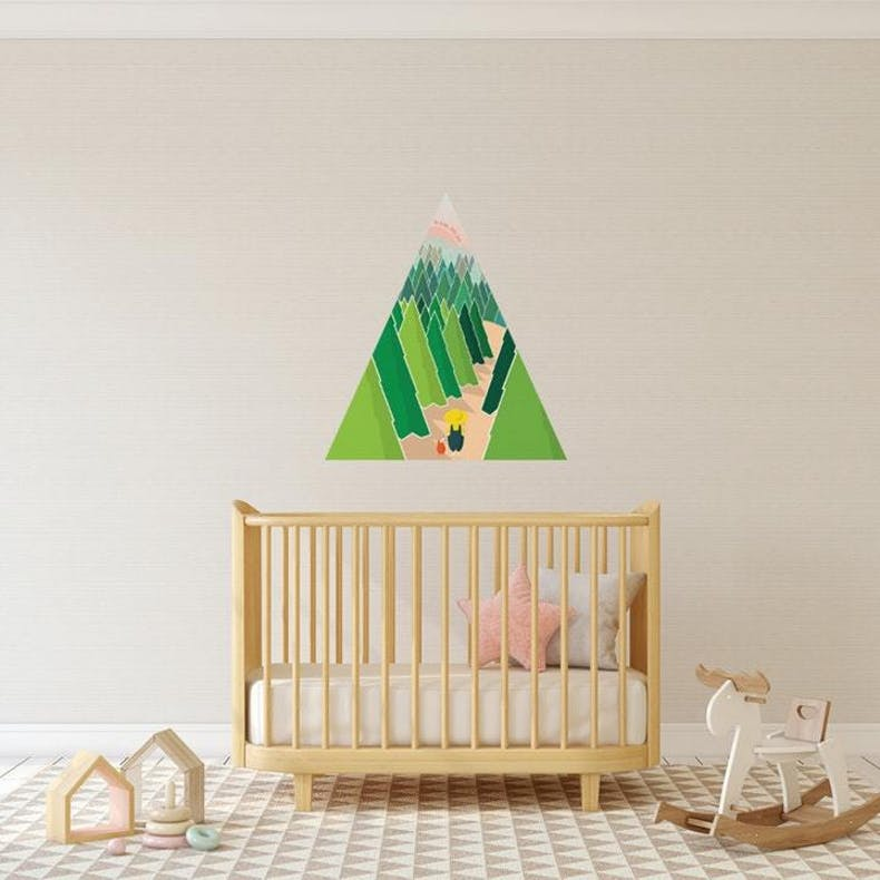 Nursery with Woodland Path triangle Christian Wall Decal | Wonderfully Made @ Cheerfully Given